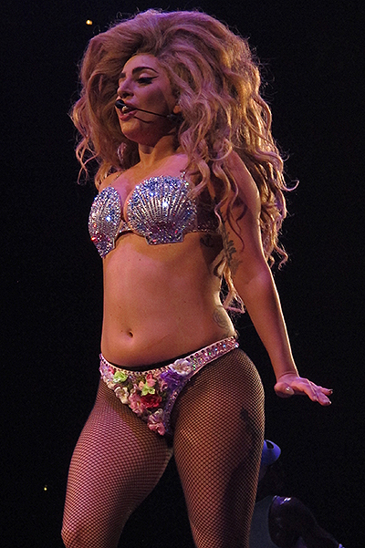 Lady Gaga performs during the Los Angeles date of her ArtPop Tour at the Staples Center in Los Angeles, CA