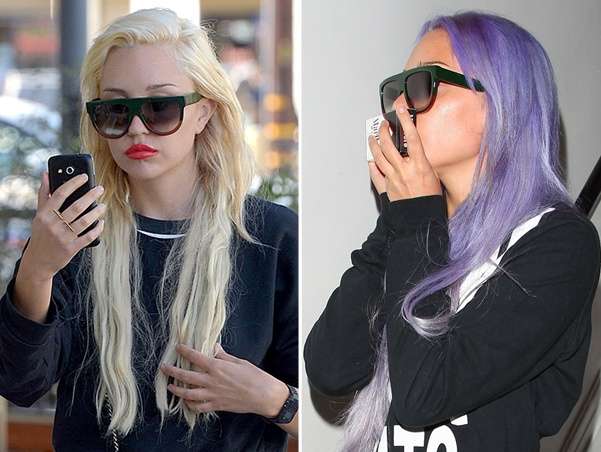 Troubled star Amanda Bynes spotted leaving Nine Zero One salon sporting new purple hair Featuring: Amanda Bynes Where: Los Angeles, California, United States When: 07 Nov 2014 Credit: revolutionpix/WENN.com