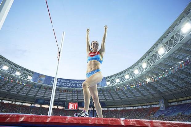 Track & Field: 14th IAAF World Championships in Athletics: Russia Elena Isinbaeva during Women's Pole Vault Final at Luzhniki Stadium. Moscow, Russia 8/13/2013 CREDIT: Bob Martin (Photo by Bob Martin /Sports Illustrated/Getty Images) (Set Number: X156804 TK8 R1 F38 )