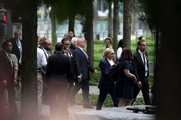 NEW YORK, NY, - SEPTEMBER 11:  Republican presidential candidate Hillary Clinton arrives at the 15th anniversary of the 9/11 attacks in Ground Zero, Manhattan, New York, United States on September 11, 2016. (Photo by Mohammed Elshamy/Anadolu Agency/Getty Images)
