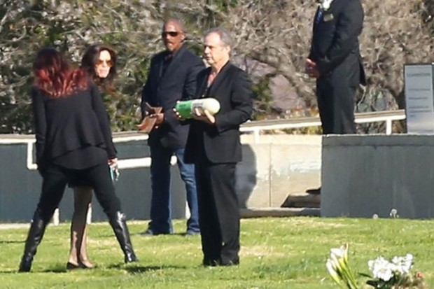 Todd Fisher with Carrie Fisher`s Ashes at Forest Lawn Cemetery