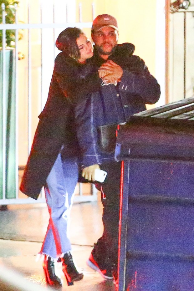 *PREMIUM EXCLUSIVE* Santa Monica, CA - Hot New Couple Selena Gomez and The Weeknd couldn't keep their hands off each other as they emerged from Giorgio Baldi. The amorous pair were all smiles as they left the celebrity hotspot late at night following a long romantic dinner. Selena who has been linked to Orlando Bloom and dated Justin Bieber in the past, held on to her new man as they waited for their cars. The Weeknd (Abel Tesfaye) recently split from supermodel girlfriend Bella Hadid who he dated for 2 years. Selena couldn't stop smiling and kept her arms tightly wrapped around her beau and the couple stopped to  kiss often as they made their way out of the restaurant and headed to their car. AKM-GSI          January 10, 2017 To License These Photos, Please Contact: Maria Buda (917) 242-1505 mbuda@akmgsi.com sales@akmgsi.com or  Mark Satter (317) 691-9592 msatter@akmgsi.com sales@akmgsi.com www.akmgsi.com