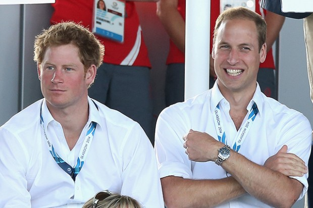 GLASGOW, SCOTLAND - JULY 28:  Prince Harry, Catherine, Duchess of Cambridge and Prince William, Duke of Cambridge watch Scotland Play Wales at Hockey at the Glasgow National Hockey Centre during the 20th Commonwealth games on July 28, 2014 in Glasgow, Scotland.  (Photo by Chris Jackson/Getty Images)