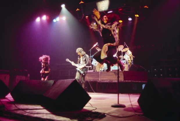 NEW YORK - DECEMBER 06 : Bassist Geezer Butler, guitarist Tony Iommi and singer Ozzy Osbourne of Black Sabbath perform on stage at Madison Square Garden in New York City on December 06, 1976. (Photo by Fin Costello/Redferns)