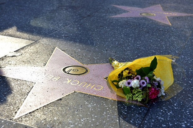 HOLLYWOOD, CA - MARCH 18: Flowers are placed on Chuck Berry's Hollywood Walk of Fame Star on March 18, 2017 in Hollywood, California. Musician Chuck Berry passed away March 18, 2017 at a residence outside St. Louis.  He was 90 years old. (Photo by Rodin Eckenroth/Getty Images)