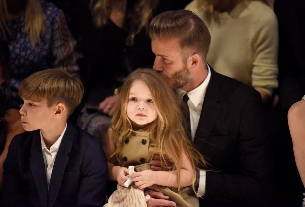 David Beckham kisses harper on the lips