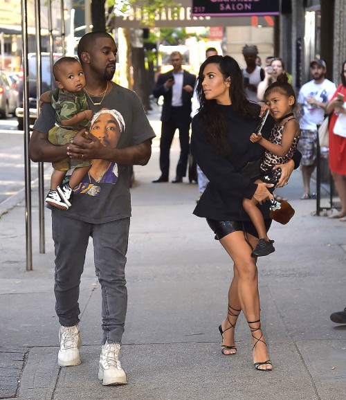 Kim Kardashian, Kanye West with North West and Saint West are spotted in the Upper East Side  on August 29, 2016 in New York City.  (Photo by Alo Ceballos/GC Images)</p>