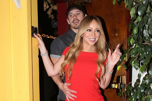EXCLUSIVE: Mariah Carey wearing a beautiful fitted Red evening dress and her boyfriend Bryan Tanaka were seen leaving 'Dan Tana's' Italian Restaurant at 2:30 in West Hollywood, CA
