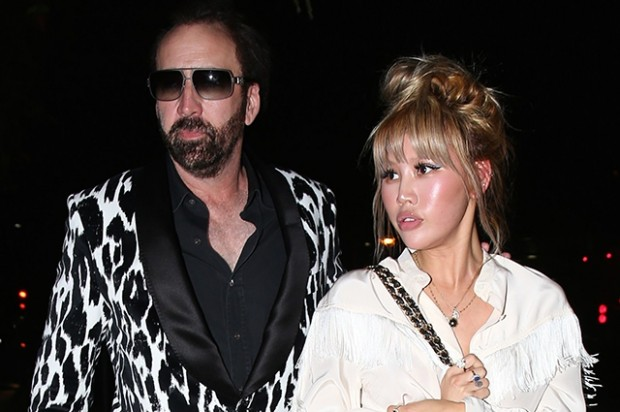 Beverly Hills, CA  - *EXCLUSIVE*  - Actor Nicolas Cage was spotted rocking a zebra print sport coat as she headed back his car after having a dinner date in Beverly Hills with girlfriend Erika Koike. Pictured: Nicolas Cage, Erika Koike BACKGRID USA 21 MAY 2018  BYLINE MUST READ: Byrdman / BACKGRID USA: +1 310 798 9111 / usasales@backgrid.com UK: +44 208 344 2007 / uksales@backgrid.com *UK Clients - Pictures Containing Children Please Pixelate Face Prior To Publication*