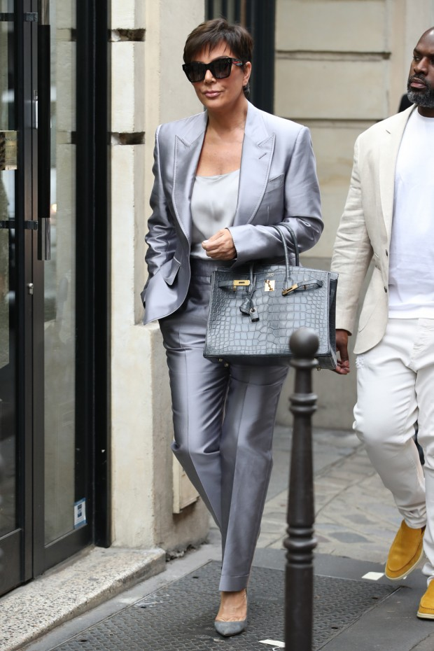Mandatory Credit: Photo by Beretta/Sims/Shutterstock (10424769h) Kris Jenner Kris Jenner out and about, Paris Fashion Week, France - 26 Sep 2019 Wearing Tom Ford Same Outfit as catwalk model *9865768ac