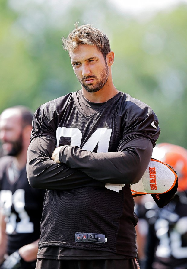 Mandatory Credit: Photo by Mark Duncan/AP/Shutterstock (6017028v) Jordan Cameron Cleveland Browns tight end Jordan Cameron watches practice at NFL football training camp in Berea, Ohio Browns Camp Football, Berea, USA