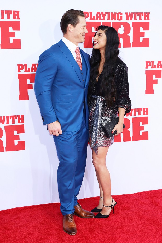 "Mandatory Credit: Photo by Greg Allen/Invision/AP/Shutterstock (10457294ab) John Cena, Shay Shariatzadeh. John Cena, left, and Shay Shariatzadeh attend the premiere of Paramount Pictures' ""Playing With Fire"" at the AMC Lincoln Square on Saturday, Oct. 26, in New York NY Premiere of ""Playing With Fire"", New York, USA - 26 Oct 2019"