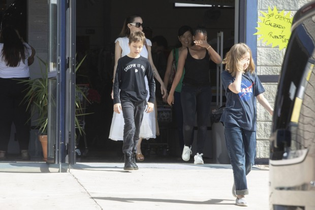 EXCLUSIVE: Angelina Jolie looks like skin and bones, sparking fresh concern over her health. The 44-year-old actress, who was hospitalised as a result of her anorexia as a teen, was seen with children Zahara, Knox and Vivienne on a shopping trip to a discount store on the Spanish Island of Fuerteventura. Jolie is about to start filming the Marvel movie The Eternals. 28 Oct 2019 Pictured: Angelina Jolie reunited with her children Zahara Knox and Vivienne as they go shopping in Fuerteventura, Spain. Photo credit: MEGA TheMegaAgency.com +1 888 505 6342 (Mega Agency TagID: MEGA537073_011.jpg) [Photo via Mega Agency]