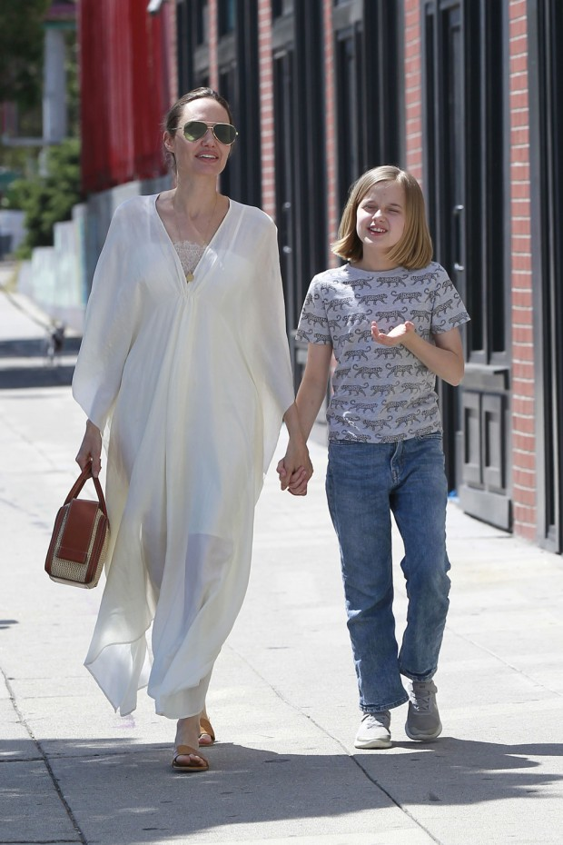 Angelina Jolie and Vivienne Jolie-Pitt seen shopping in Los Feliz.