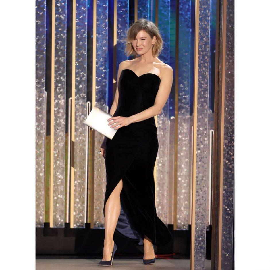 Рене Зеллвегер на Оскаре 2021 в розовом платье без бретелек: отличный классический гармоничный стиль - 4