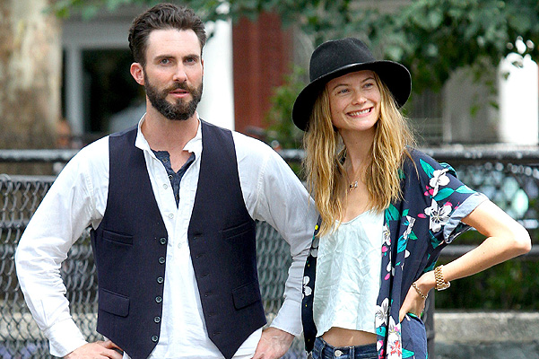 Adam Levine's fiancee, Behati Prinsloo is all smiles as she visits her future husband on the set of 'Can a Song Save Your Life?' in Manhattan, NYC