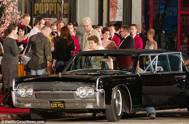 Grand entrance: Emma shot scenes for the film on location in Hollywood, which appeared to be her arriving at the movie premiere for Mary Poppins