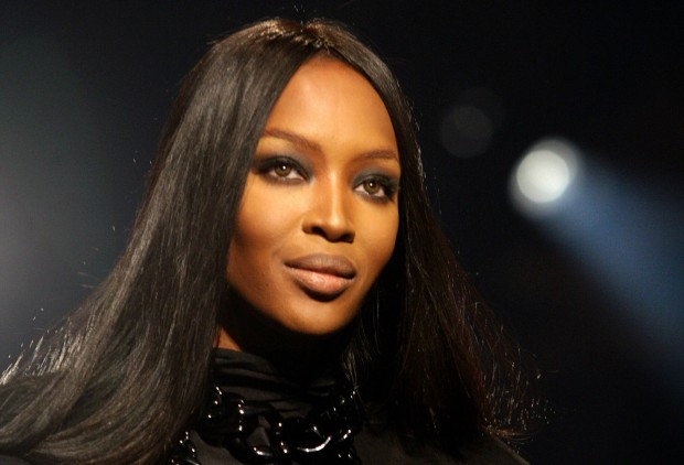 British supermodel Naomi Campbell walks
