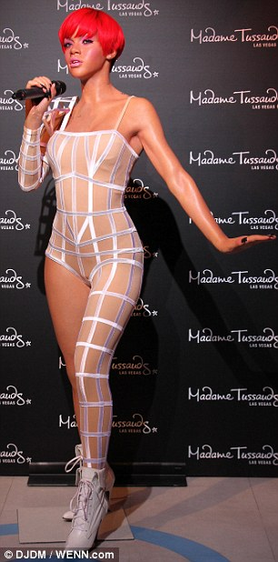 Hokey pokey: The Las Vegas figure immortalized Rihanna's bandage-style asymmetrical bodysuit from her Last Girl on Earth tour of 2010