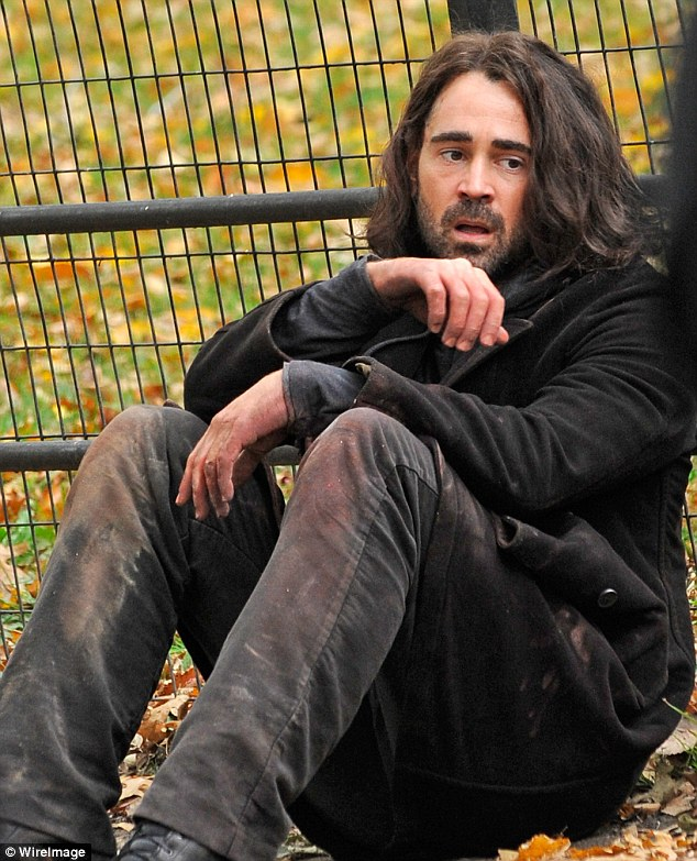 Down and out: Colin Farrell was shooting scenes for his new film Winter's Tale in New York on Friday