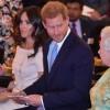 Меган Маркл и принц Гарри на королевском приеме