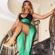 Новый ошеломительный образ от Бейонсе в атласном изумрудно-зеленом платье