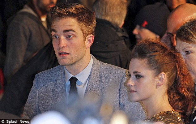 Doing the rounds: Robert and Kristen spent time chatting to their German fans outside the premiere