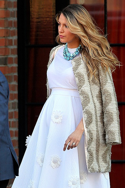 Pregnant actress Blake Lively, wearing a Michael Kors empire-line white dress with floral appliques, leaves the Bowery Hotel on November 8, 2014 in New York City