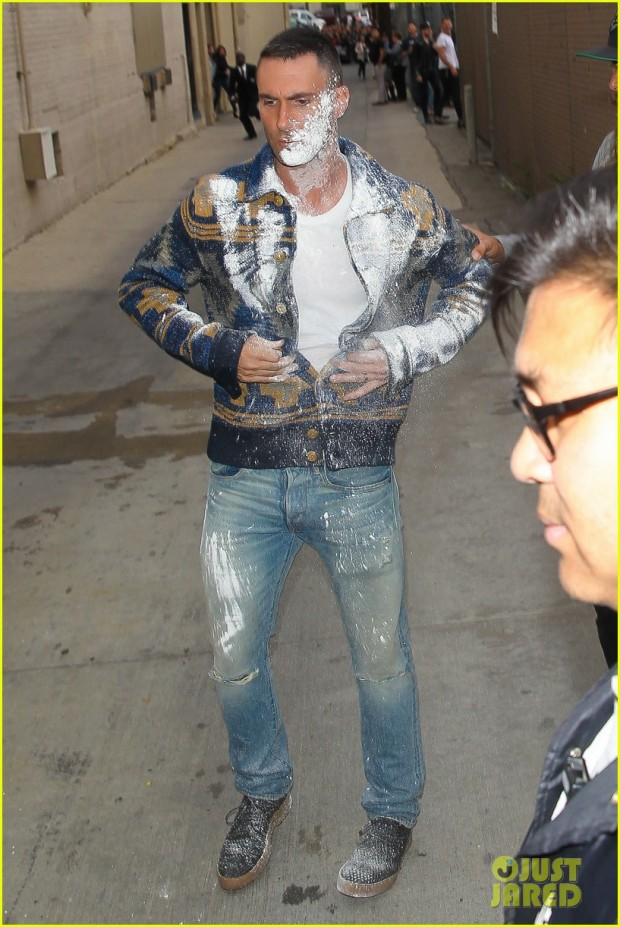 Adam Levine gets powder bombed at 'Jimmy Kimmel Live'