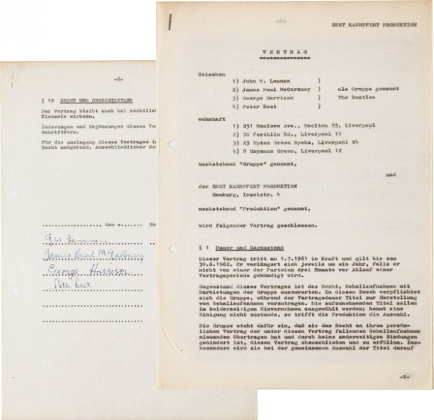 This undated photo provided by Heritage Auctions from an upcoming Beatles collection sale shows the Beatles' first recording contract, which was signed in Hamburg, Germany, where the band honed its craft performing in the city's boisterous nightclub district.  It will be auctioned in New York on Sept. 19 and is part of a collection, spanning the band's entire career, from the estate of Uwe Blaschke a noted German Beatles historian who died in 2010. (Heritage Auctions via AP)