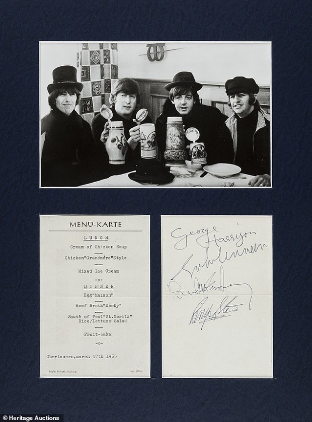 "This undated photo provided by Heritage Auctions from an upcoming Beatles collection sale shows  Swiss restaurant menu card signed by the Beatles while they were filming ""HELP"" in 1965, which will be auctioned in New York on Sept. 19. The collection, spanning the band's entire career, is from the estate of Uwe Blaschke a noted German Beatles historian who died in 2010. (Heritage Auctions via AP)"