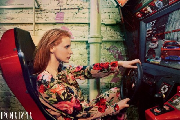 jessica-chastain-wears-pajama-shirt-pajama-trousers-by-dolce-gabbana-photographed-by-ryan-mcginley-for-porter