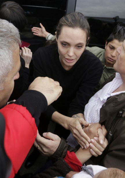 Angelina Jolie visited UNCHR office in port of Piraeus near Athens Greece, where she met a refugee family from Syria. Pictured: Angelina Jolie Ref: SPL1221268  160316   Picture by: Pavlos Karabatsis / Splash News Splash News and Pictures Los Angeles:	310-821-2666 New York:	212-619-2666 London:	870-934-2666 photodesk@splashnews.com