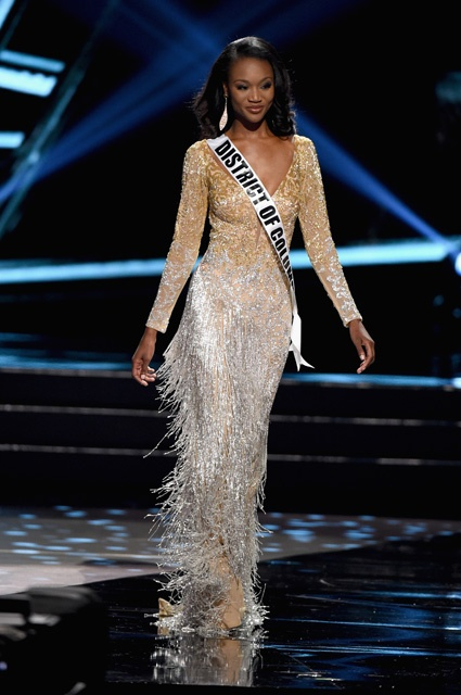 LAS VEGAS, NV - JUNE 05: Miss District of Columbia USA 2016 Deshauna Barber competes in the top 3 during the 2016 Miss USA pageant at T-Mobile Arena on June 5, 2016 in Las Vegas, Nevada.  (Photo by Ethan Miller/Getty Images)