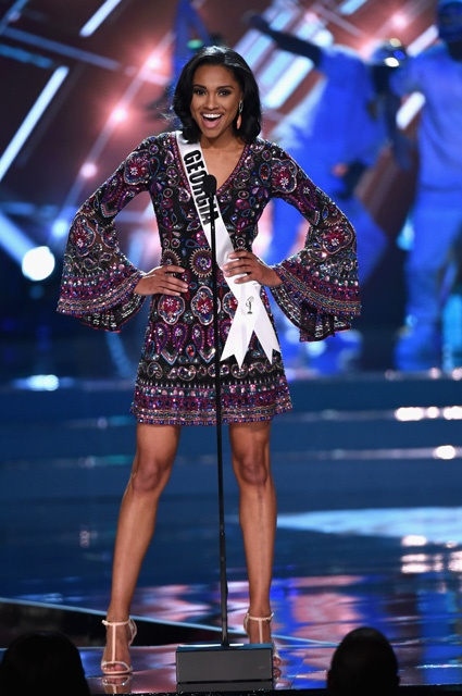 LAS VEGAS, NV - JUNE 05:  Miss Georgia USA 2016 Emanii Davis stands onstage during the 2016 Miss USA pageant at T-Mobile Arena on June 5, 2016 in Las Vegas, Nevada.  (Photo by Ethan Miller/Getty Images)