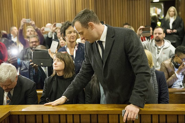 PRETORIA, SOUTH AFRICA - JULY 6: Paralympian athlete Oscar Pistorius, accused of the murder of his girlfriend Reeva Steenkamp three years ago, arrives for a hearing in his murder trial on July 6, 2016 at the High Court in Pretoria, South Africa.  (Photo by Marco Longari - Pool/Getty Images)