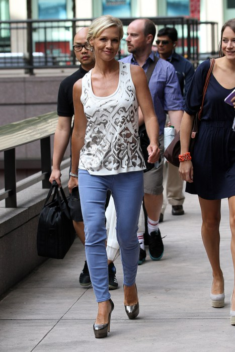 Jennie Garth spotted outside the Sirius Radio in New York City. Pictured: Jennie Garth Ref: SPL424359  070812   Picture by: Santi/Splash News Splash News and Pictures Los Angeles:310-821-2666 New York:212-619-2666 London:870-934-2666 photodesk@splashnews.com