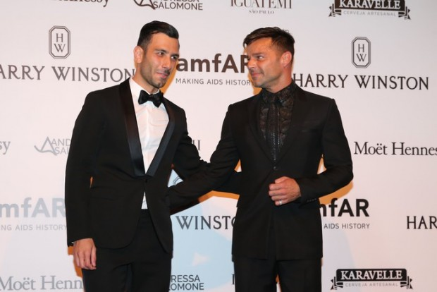 The elegant pair were seen arriving for the charity gala's red carpet holding hands. Pictured: Ricky Martin and Jwan Yosef Ref: SPL1265512  160416   Picture by: Leo Marinho / Splash News Splash News and Pictures Los Angeles:	310-821-2666 New York:	212-619-2666 London:	870-934-2666 photodesk@splashnews.com