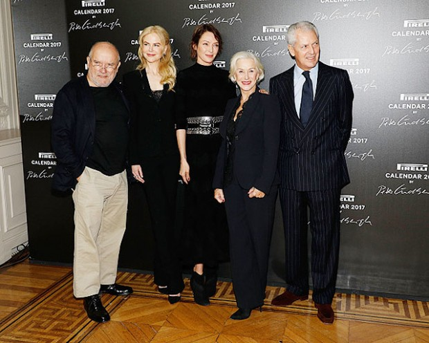 PARIS, FRANCE - NOVEMBER 29:  Peter Lindbergh, Nicole Kidman, Uma Thurman, Helen Mirren, and Marco Tronchetti Provera attend the 2017 Pirelli Calendar unveiling at Hotel Salomon de Rothschild on November 29, 2016 in Paris, France.  (Photo by Taylor Hill/WireImage)
