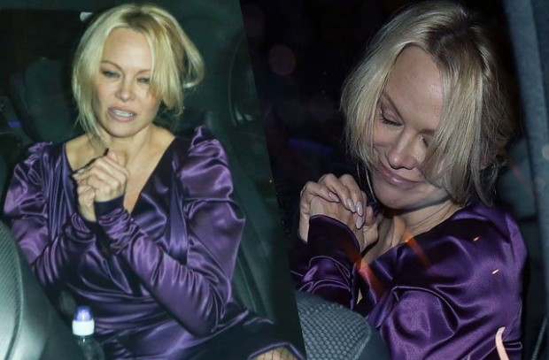 pamela-anderson-drunk-satin-dress-london-matthew-owen