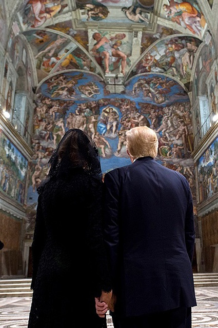 U.S. President Trump visits the Sistine Chapel in Vatican