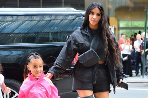 Kim Kardashian and North West head to Dylan's Candy Bar for a pre birthday trip in NYC