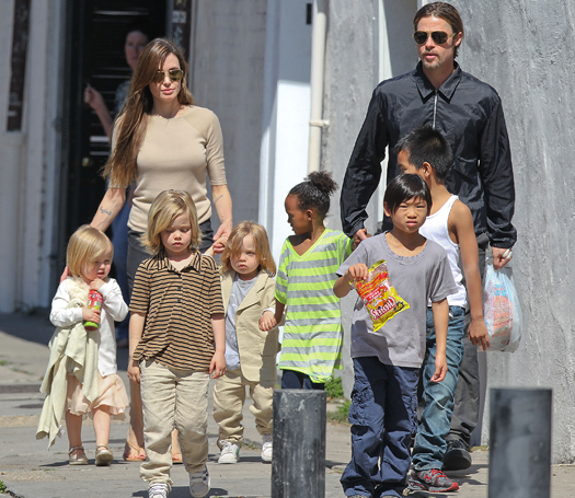 Brad Pitt and Angelina Jolie take the family for a walk in New Orleans