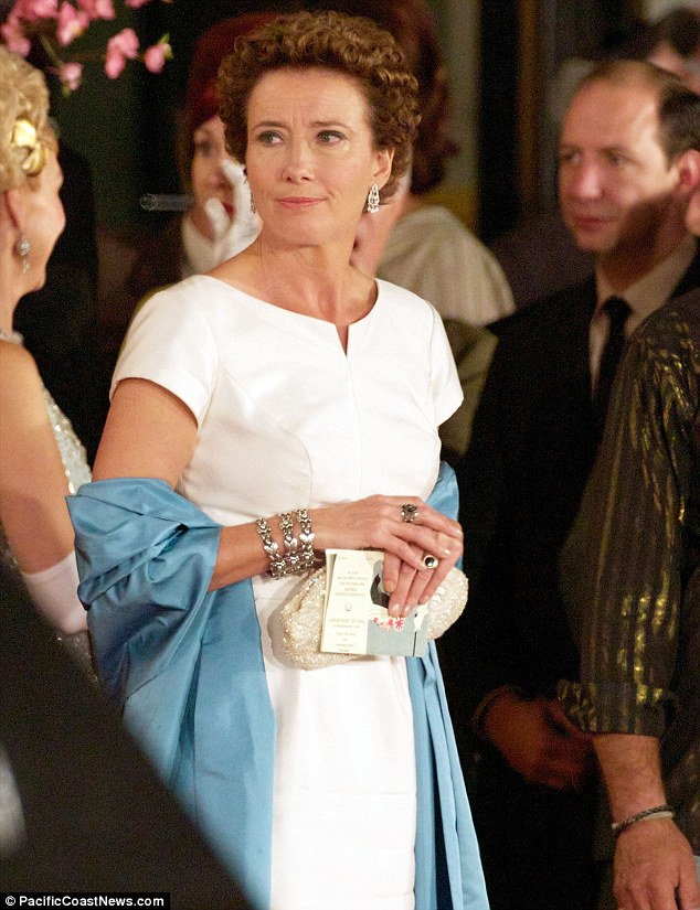 Regal style: Emma Thompson has been seen for the first time in character as P. L. Travers on the set of upcoming Walt Disney biopic Saving Mr Banks