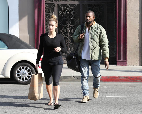 Kim Kardashian and Kanye West having a meeting at Adidas in Los Angeles