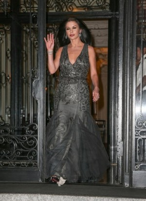 Catherine Zeta-Jones seen leaving her apartment in NYC